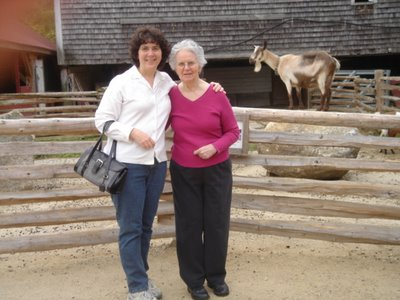 Mother and I and a goat at Beech Hill